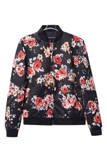 Jacket Flowers Import black womens crew neck sleeve flower printed