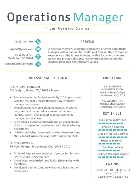 Operations Manager Resume Exle Writing Tips Rg Manager Resume Template