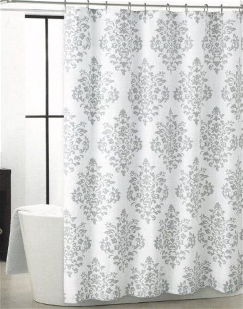 Gray And White Shower Curtains by Tahari Luxurious Grey White Damask Medallion Fabric