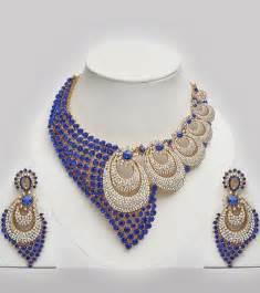 blue fashion jewelry blue white stones studded wedding costume jewellery set