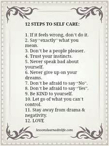 lessons learned in life12 steps to self care lessons