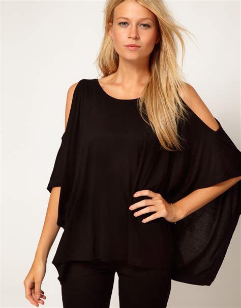 Open Shoulder asos collection asos top with oversize open shoulder in black lyst