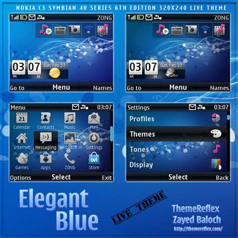 themes by nokia c3 elegant blue live theme for nokia c3 x2 01 themereflex
