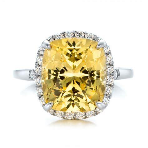 custom yellow sapphire and engagement ring 102129