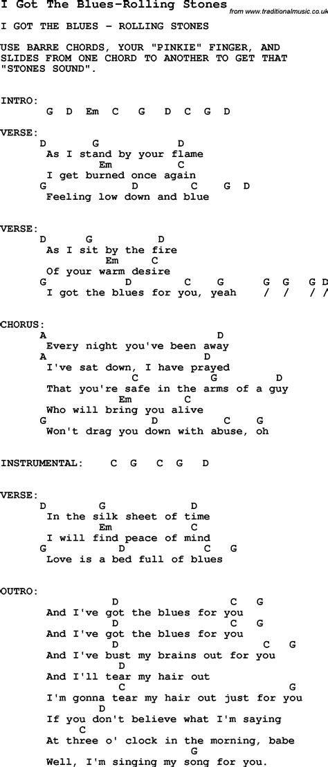 stones lyrics blues guitar lesson for i got the blues rolling stones