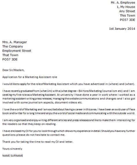 exle covering letter marketing covering letter exle