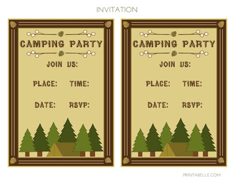 camp out invitations printable free camping printable birthday invitations
