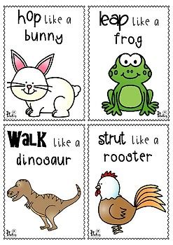 printable animal walk cards animal movement cards set 1 by top teacher teachers