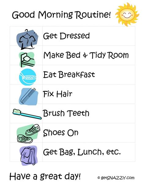 printable toddler routine good morning routine for kids free printable www