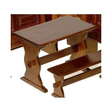 dollhouse kitchen nook walnut trestle table miniature