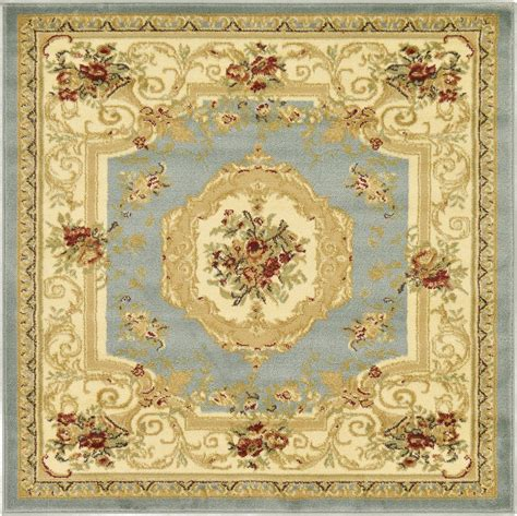 4 X 4 Area Rugs Traditional Rugs Area Carpet 4 X 4 Light Blue Classic Aubusson Rug Ebay