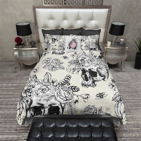 white and cream bedding cream and white skull with flower and feather crown