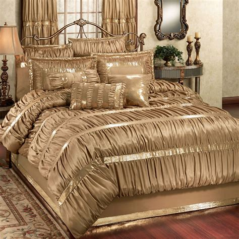 Gold Bed Set Splendor Shirred Faux Silk Gold Comforter Bedding