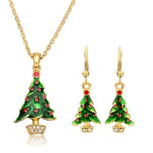 christmas tree santa claus enamel jewelry set necklace