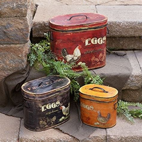 terrific shabby country chic rooster tin canister set home new country black red must set 3 fresh eggs rooster