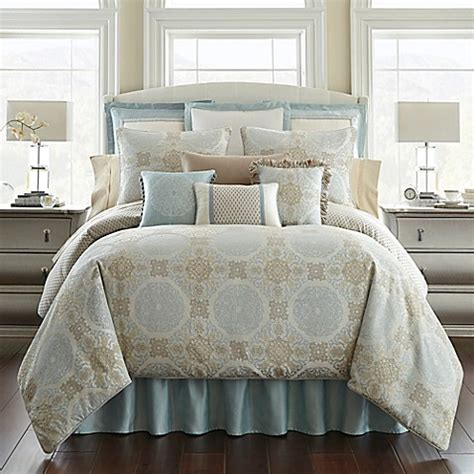 waterford bedding waterford 174 linens jonet reversible comforter set in blue bed bath beyond