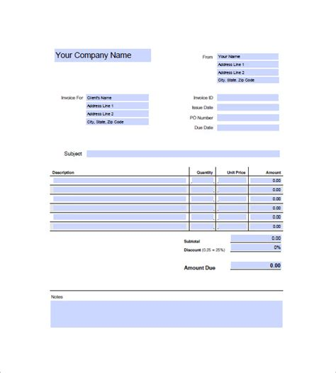 generic invoice template 8 free sle exle format