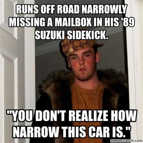 Suzuki Meme - runs off road narrowly missing a mailbox in his 89 suzuki