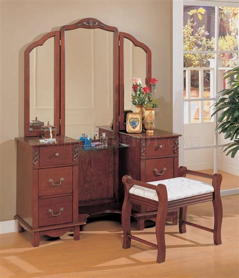 birch veneer vanity set w three mirrors