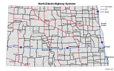 nd map state of dakota maps of interstate highways cities typography