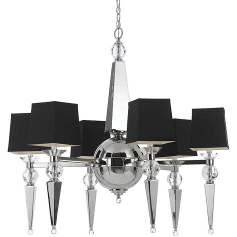 Chandelier With Black Shades Af Lighting Clark 6 Light Chrome Chandelier With Accents And Black Shade 8405 6h The
