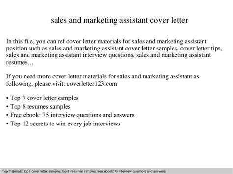 Advertising Sales Assistant Cover Letter by Sales And Marketing Assistant Cover Letter