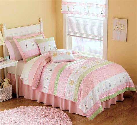 girls bedding twin spring floral pink green girls bedding twin quilt set