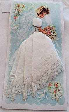 Wedding Hankie Box by Vintage Yellow Embroidered Lace Paper Doll Boxed