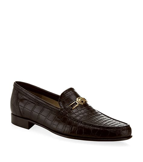 croc loafers shoes stefano ricci eagle buckle croc loafer in brown for lyst