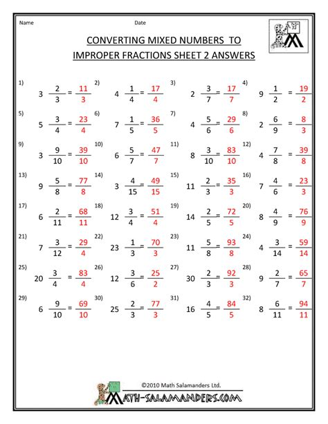 Fraction Worksheets With Answers by Mixed Numbers Worksheets Search Results Calendar 2015
