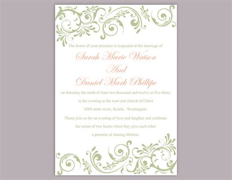 elegant wedding invitation printable elegant wedding invitation templates wblqual com