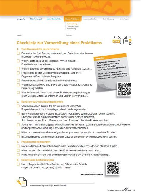 Praktikum Bewerbung Checkliste Checkliste F 252 R Dein Praktikum Berufswahlpass Nrw