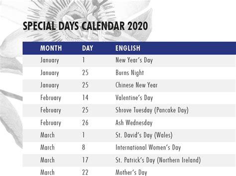 special days calendar  hilverda de boer hilverda de boer