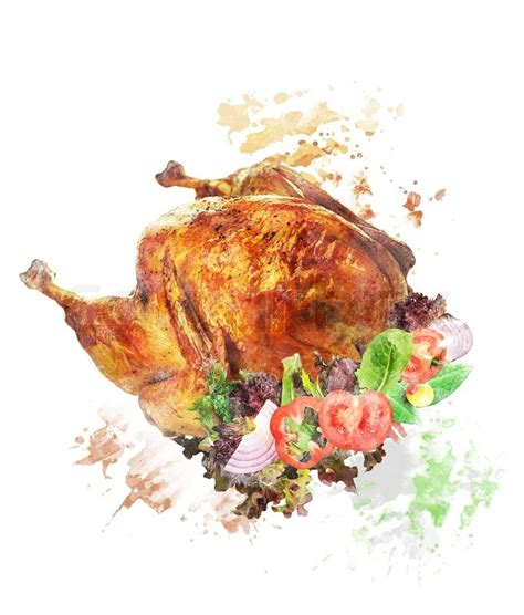 watercolor digital painting of roasted whole turkey with salad stock photo colourbox