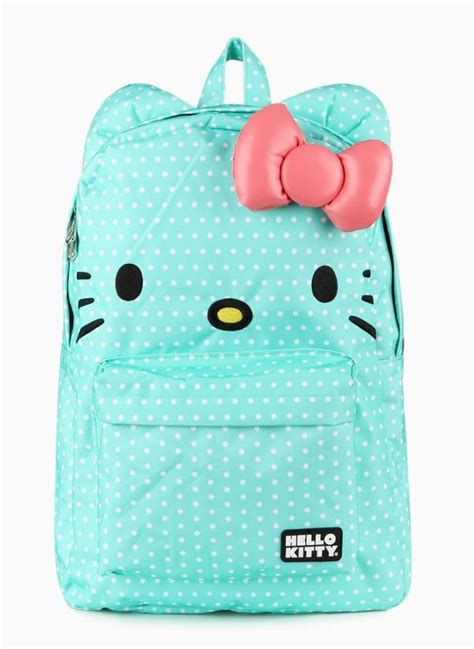 mint colored mint colored 3d hello backpack with white polka dots