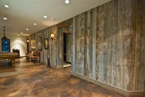 decorating cement walls barnwood walls and stained concrete floor cool for a