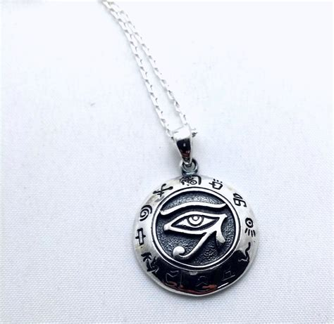 eye of horus necklace solid sterling silver all seeing eye