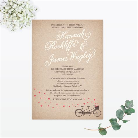 Single Card Wedding Invitations by Hearts And Bicycles Sles Invited Luxury