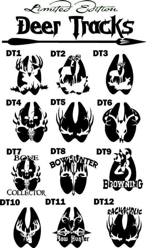 limited edition hunting deer tracks decals 8in one color