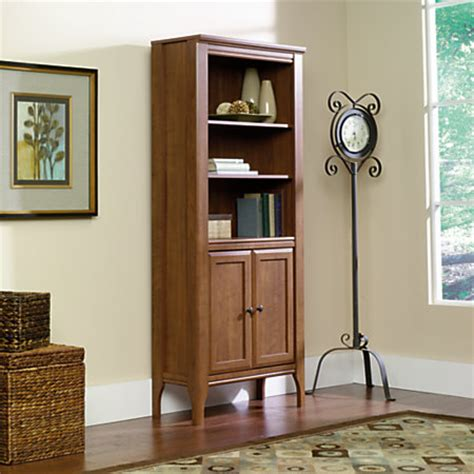 sauder library bookcase sauder appleton library bookcase with doors 5 shelves sand