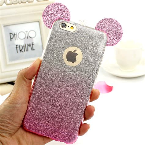 Iphone 7 3d Mickey Glitter Bling Soft Tpu Back Reo aliexpress buy 3d mickey mouse glitter soft