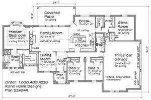 Floor Plans Without Formal Dining Rooms Three Bedrooms Two Bath Three Car Garage With Game Room
