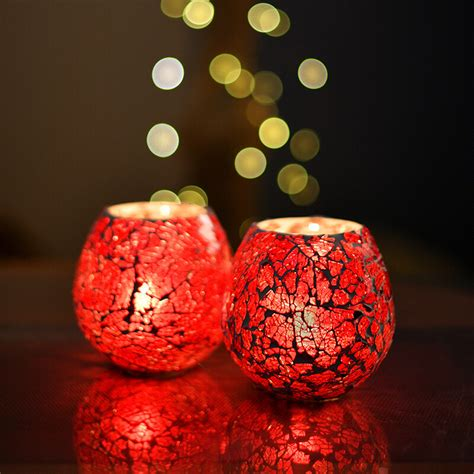moroccan red glass crackle mosaic candle holder tea light
