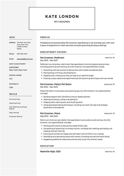 12 x pet groomer resume templates resumeviking