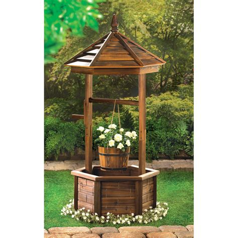 outdoor decor new rustic wishing well planter wood bucket decor outdoor