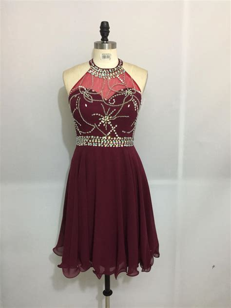 Dress Owl Hoodie Marun Ready lovely maroon halter homecoming dresses