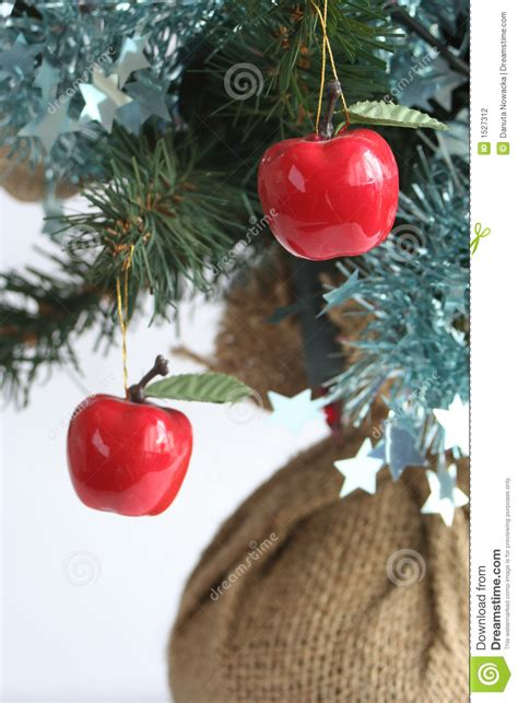 apples on a christmas tree stock photo image of