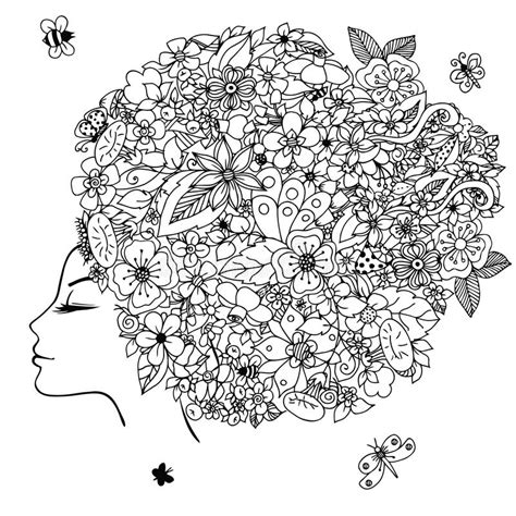 gogh coloring book grayscale coloring for relaxation coloring book therapy creative grayscale coloring books vector illustration zentangl with flowers in hair