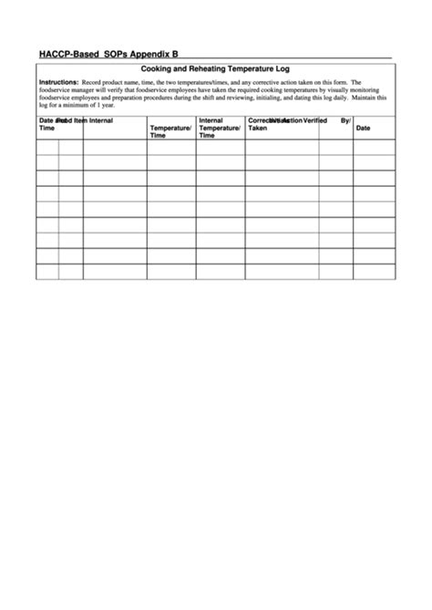 Haccp Based Sops Cooking And Reheating Temperature Log Printable Pdf Download Haccp Log Templates
