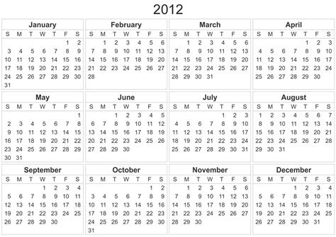 2012 calendar template 2013 free calendar to print or bookmark